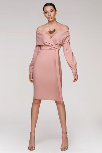front_Lovely Story Blush Midi Dress
