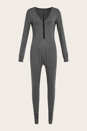 back_Sporty Plain Deep V Neck Dark Grey Jumpsuits