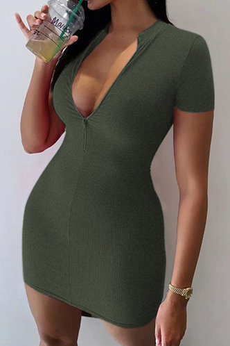 back_Ally Edwina Green Zig Up Dress