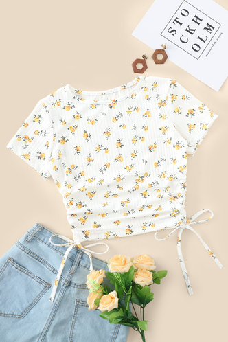 back_Corrie Eden White And Yellow Floral Print Knot Side Tee