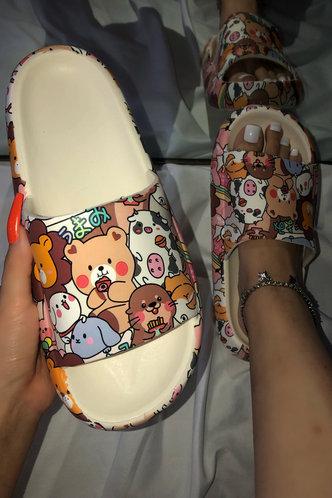 front_Flat Open Toe Multicolor Slides & Flip Flops