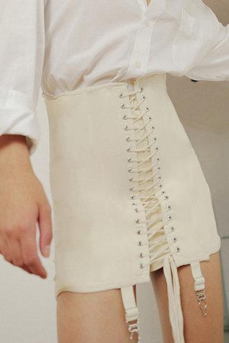 front_Kaye Elaine Ivory Lace-Up Skirt
