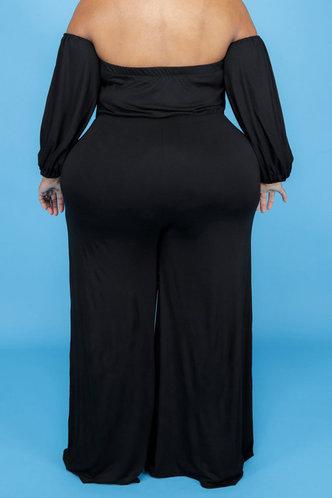 back_Off the Shoulder Black Plus Size Jumpsuits