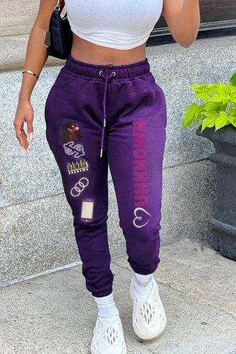 front_High Waist Letter Purple Sweatpants