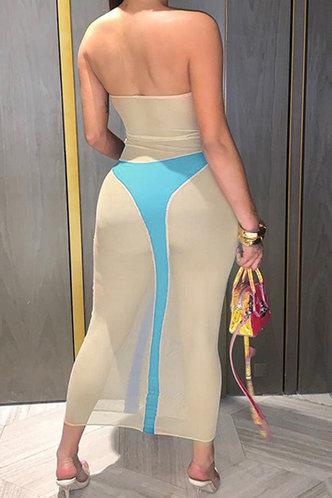 back_Lillie Elsa Khaki And Blue Tube Dress