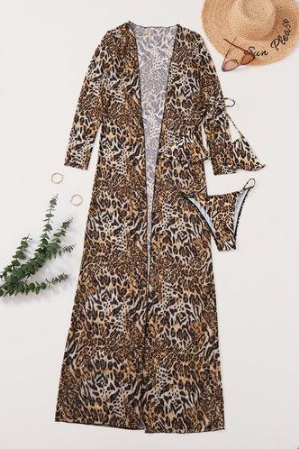 back_Halter Leopard Print Backless Leopard Print Bikini Sets