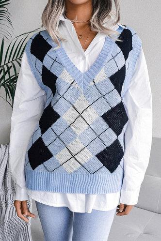front_V-Neck Plaid Plaid Sweaters
