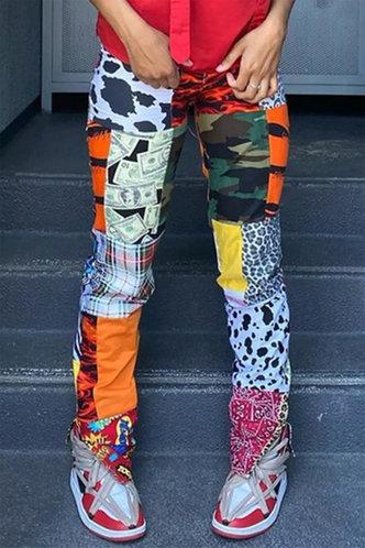 front_Low Waist   Long Conventional No special process Colorblock Pants