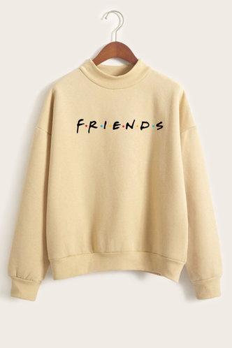 front_Casual Crew Neck Letter Print Yellow Sweatshirts & Hoodies