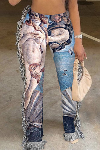 front_Mid Waist All Over Print   Straight Leg Oil Painting Print Pants