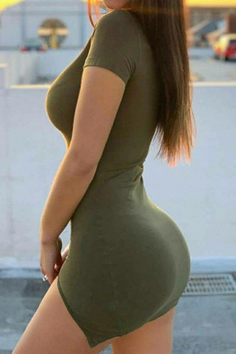 back_Millicent Ella Army Green Split Hem Dress