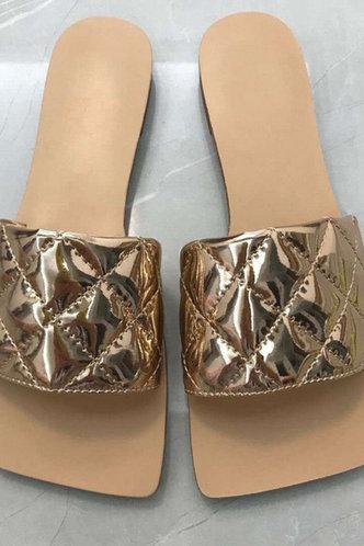 front_Ivory Elva Gold Slide Sandals