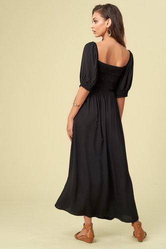back_Puff Party Black Mini Dress
