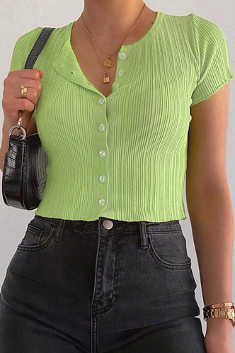 front_Ally Eileen Green Button Front Tee