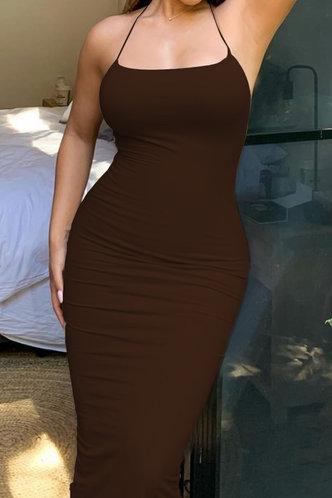 front_Lena Elvira Brown Cami Bodycon Dress