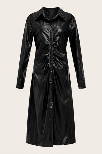 back_Mock Plain  Long Button No special process Black Outerwear