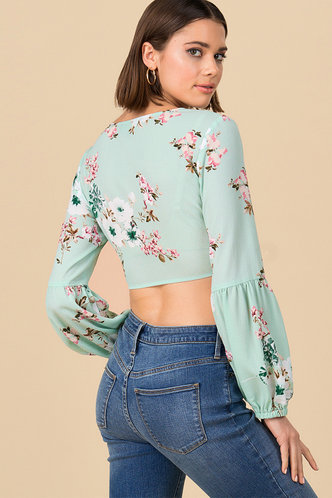 back_Mint Condition Green Floral Print Knot Blouse