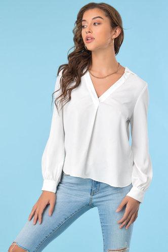 front_Collar Neck Long Sleeve White Blouses