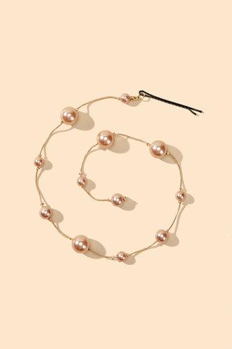 back_Abby Elizabeth Gold Faux Pearls Charm Hair Accessory