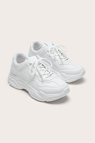 front_Lee Eden White Lace Up Front Chunky Sneakers