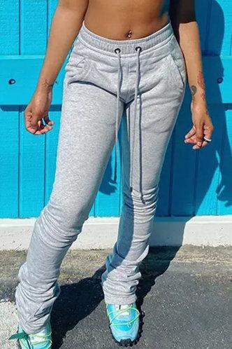 back_Mid Waist Jogger Pants Grey Pants