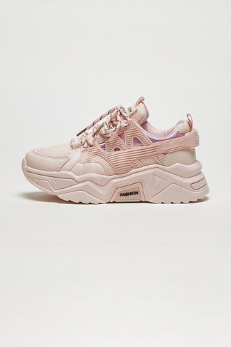 back_Octavia Elaine Baby Pink Lace Up Front Chunky Sneakers