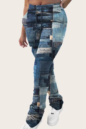front_Juliet Eleanore Blue Colorblock Plus Size Jean