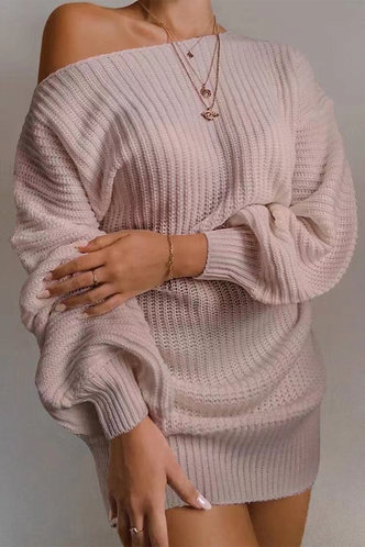 front_Asymmetrical Neck Solid Color Dropped Shoulder Pink Sweaters