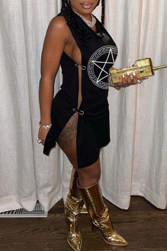 front_Blanche Flugil Black Safety Pin Dress