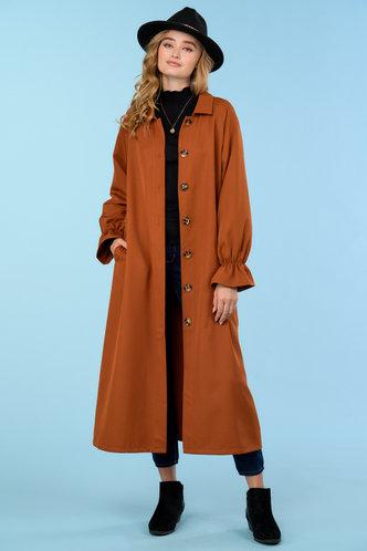 back_Burnt Orange Brown Trench Coat
