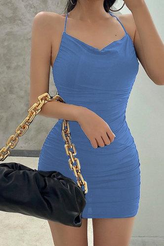 back_Violet Elizabeth Rusty Blue Open Back Ruched Dress