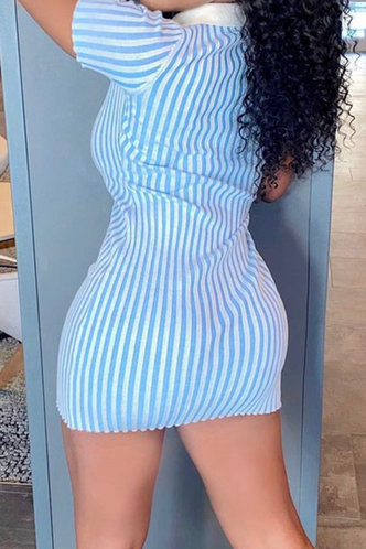 back_Daily Shopping Short Sleeve Blue Striped Striped Dresses