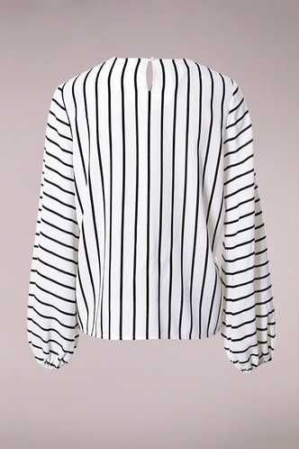 back_Earn Your Stripes White And Black Striped Keyhole Back Blouse