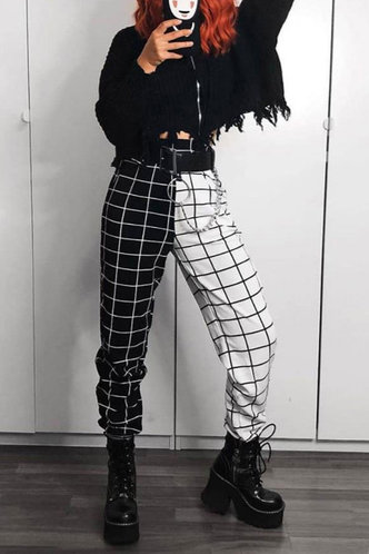 front_Marta Black And White Plaid Pants