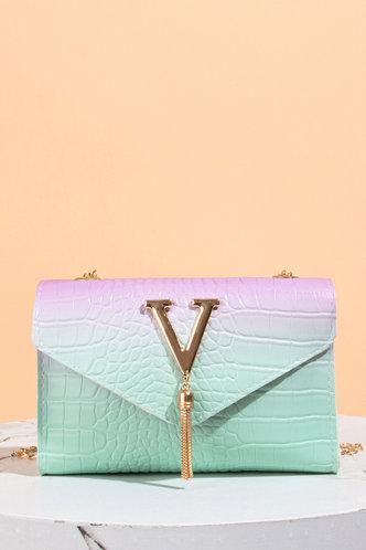 front_Virginia Emma Green Gradient Crossbody Bag