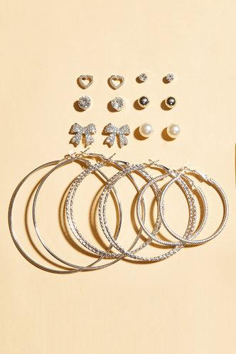 front_9pcs Rainstone Circle Sliver Earring