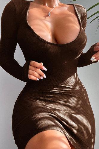 front_Scoop Neck Brown Mini Dress
