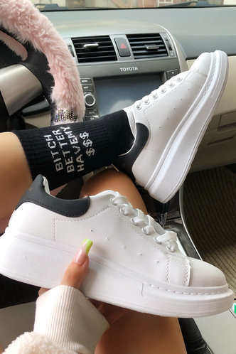 front_Color Block Drawstring Low Heel Round Toe White Sneakers