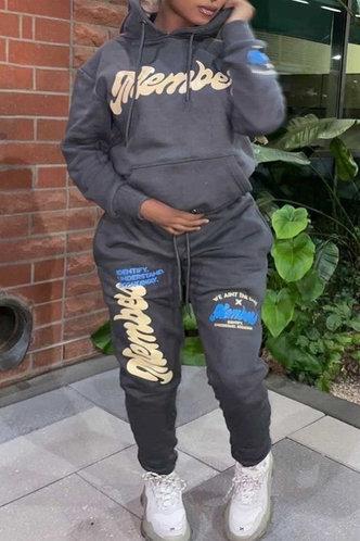 front_Letter Pullover Grey Plus Size Sweatshirt Sets