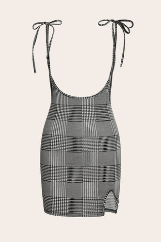 front_Udo Buffalo Plaid Split Hem Overall Dress