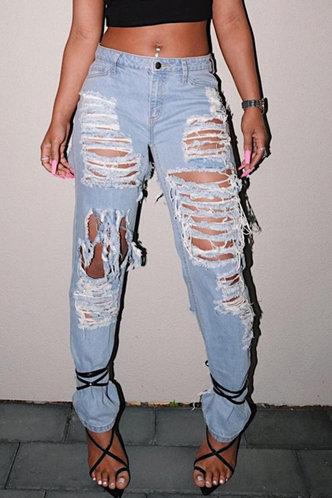 front_Mid Waist   Straight Wash Light Blue Women Jeans