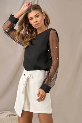 back_For Sheer Black Sheer Mesh Sleeve Top