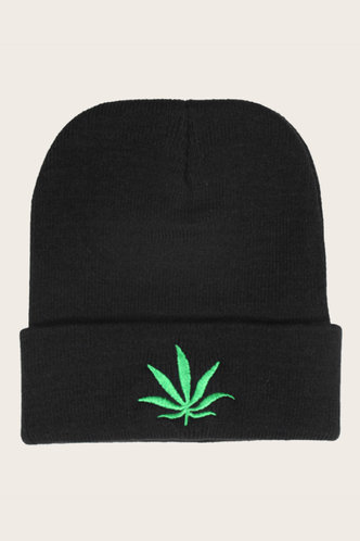 front_Casual Street Plant Print Black Hats & Gloves