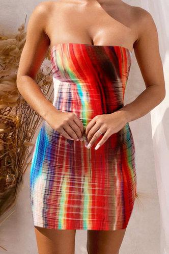 front_Carmela Elsa Rainbow Tie Dye Flounce Hem Tube Dress
