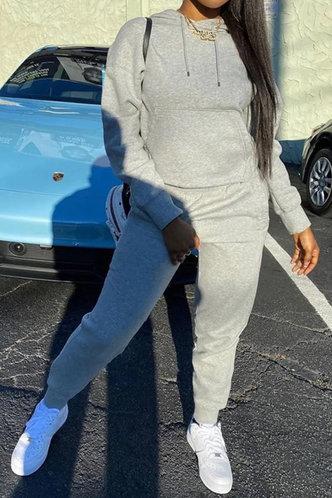 back_Pocket Pullover Light Grey Sweatshirt Sets