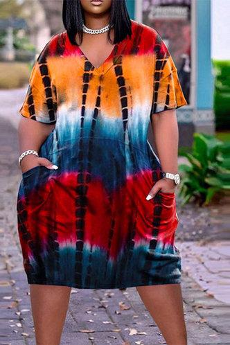 front_Hattie Eudora Red Tie Dye Plus Size Dress