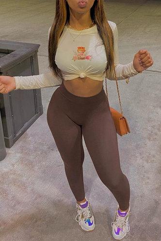 front_High Waist Plain   Brown Pants