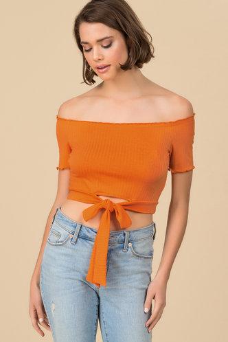 front_Mellow Orange Bardot Top