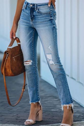 front_Kenna Eartha Blue Ripped Knee Jeans