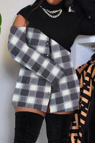 front_Jacquetta Elsa Black Plaid Plus Size Dress